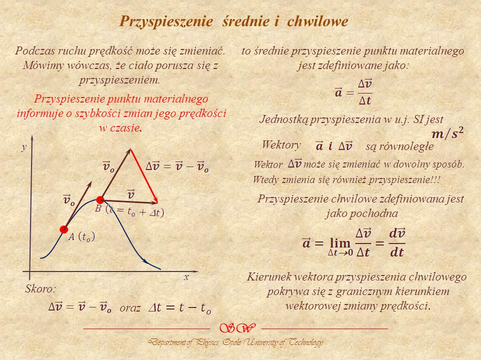 Przyspieszenie średnie i chwilowe x y Jednostką przyspieszenia w u.j. SI jest Wektory to średnie przyspieszenie punktu materialnego jest zdefiniowane