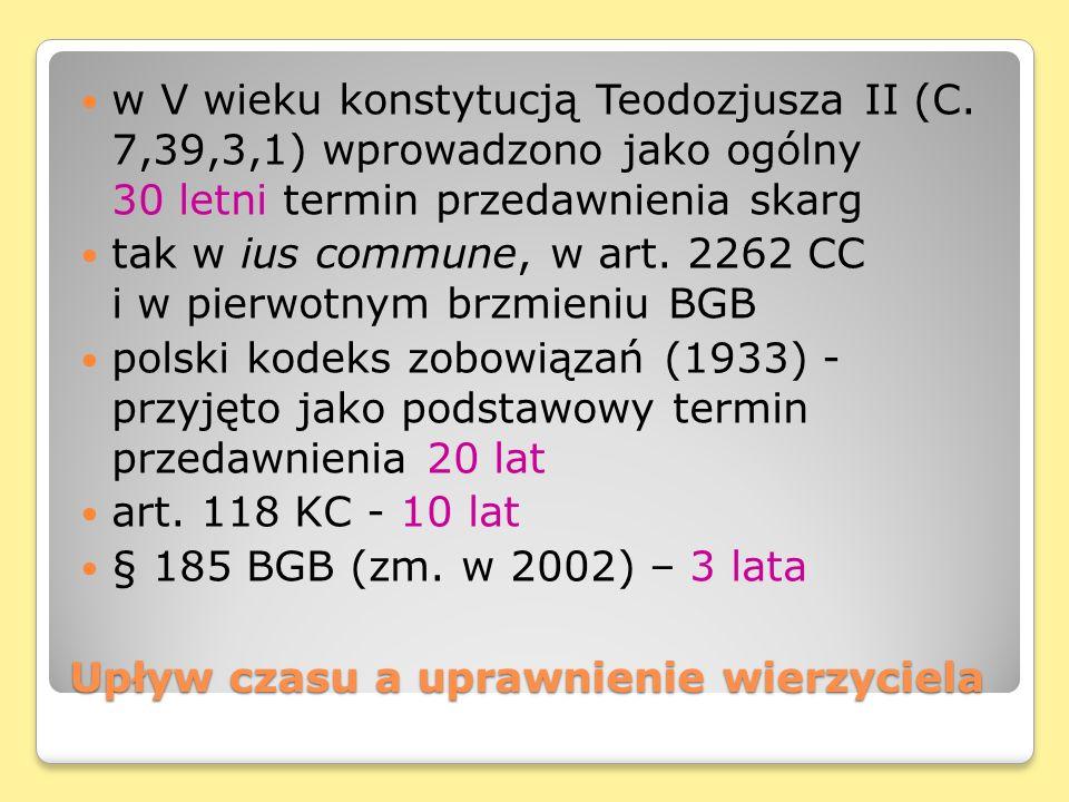 Upływ czasu a uprawnienie wierzyciela w V wieku konstytucją Teodozjusza II (C. 7,39,3,1) wprowadzono jako ogólny 30 letni termin przedawnienia skarg t