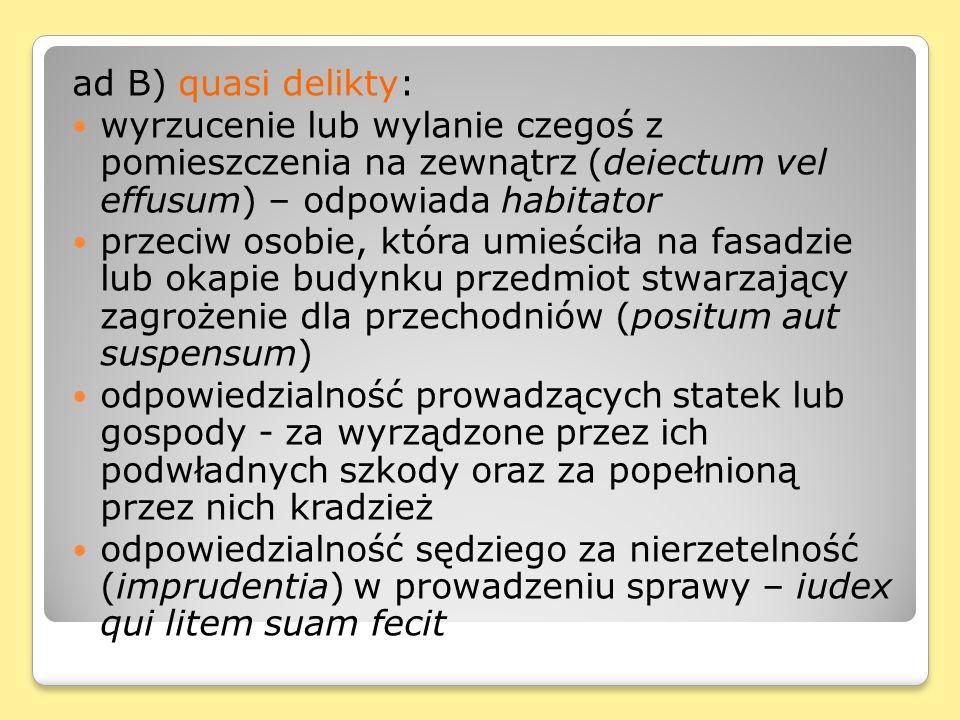 ad B) quasi delikty: wyrzucenie lub wylanie czegoś z pomieszczenia na zewnątrz (deiectum vel effusum) – odpowiada habitator przeciw osobie, która umie
