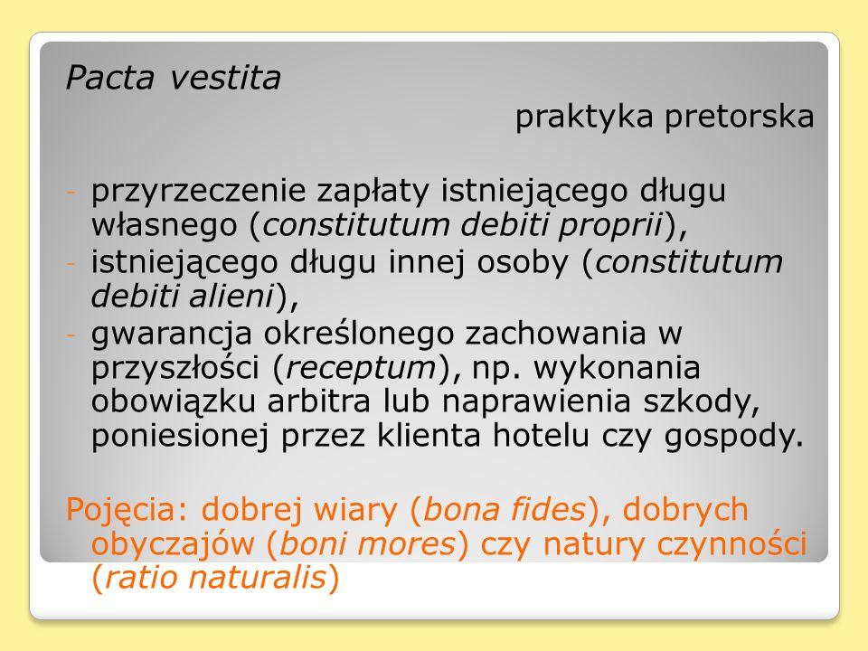 Pacta vestita praktyka pretorska - przyrzeczenie zapłaty istniejącego długu własnego (constitutum debiti proprii), - istniejącego długu innej osoby (c