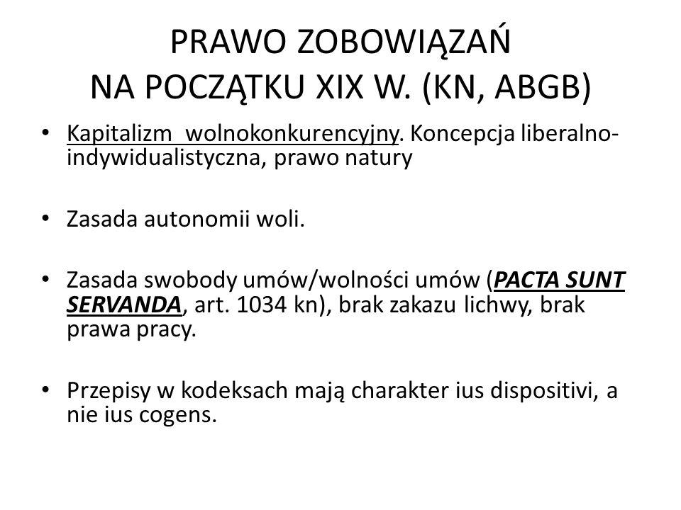 PRAWO ZOBOWIĄZAŃ NA POCZĄTKU XIX W. (KN, ABGB) Kapitalizm wolnokonkurencyjny. Koncepcja liberalno- indywidualistyczna, prawo natury Zasada autonomii w