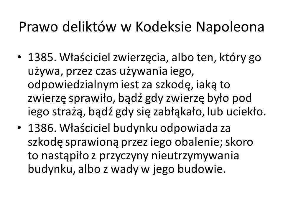 Prawo deliktów w Kodeksie Napoleona 1385. Właściciel zwierzęcia, albo ten, który go używa, przez czas używania iego, odpowiedzialnym iest za szkodę, i