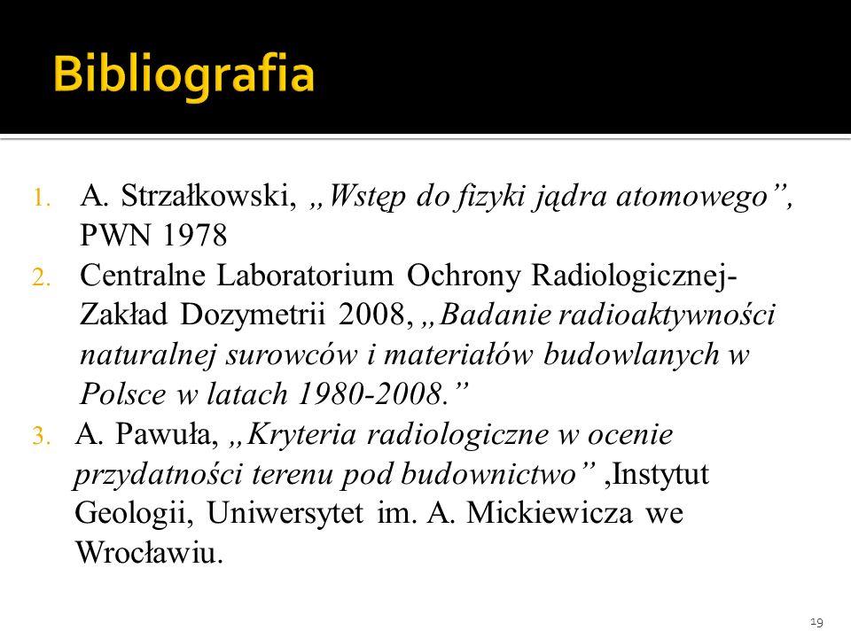 1. A. Strzałkowski, Wstęp do fizyki jądra atomowego, PWN 1978 2. Centralne Laboratorium Ochrony Radiologicznej- Zakład Dozymetrii 2008, Badanie radioa