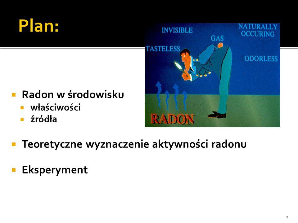 Radon w środowisku właściwości źródła Teoretyczne wyznaczenie aktywności radonu Eksperyment 2