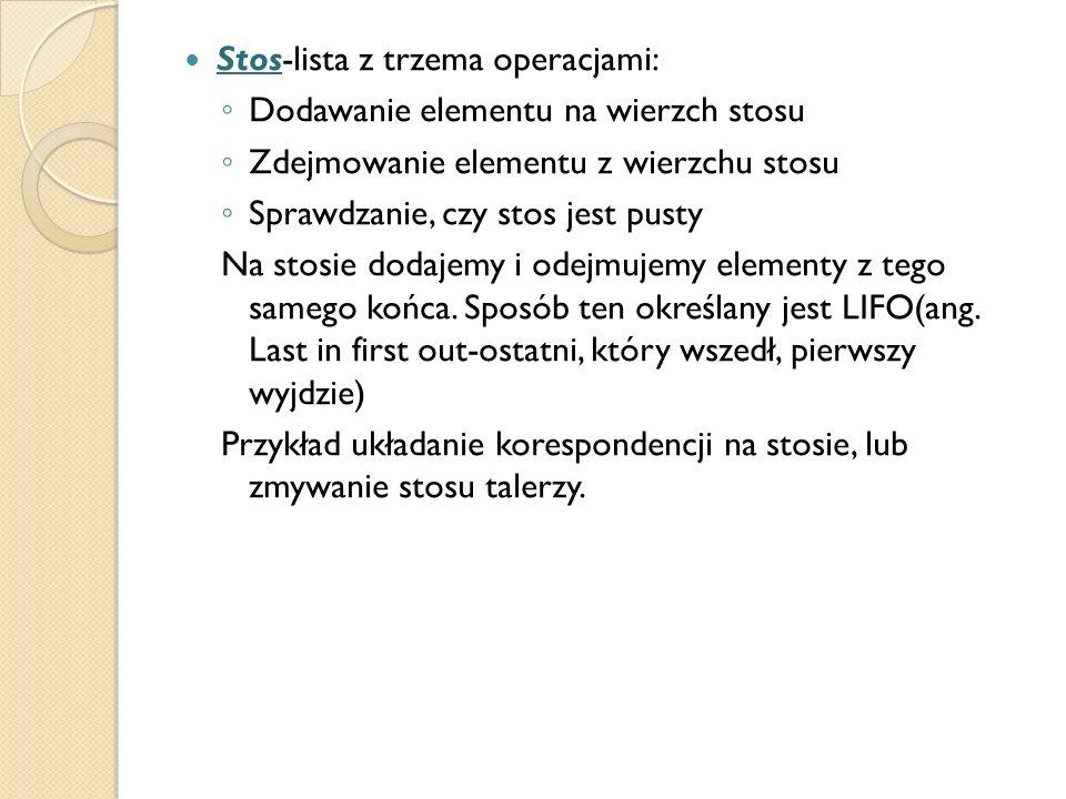 Stos-lista z trzema operacjami: Dodawanie elementu na wierzch stosu Zdejmowanie elementu z wierzchu stosu Sprawdzanie, czy stos jest pusty Na stosie d
