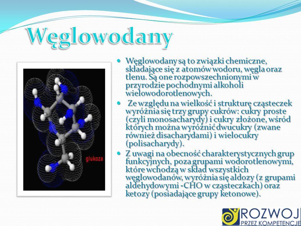 Węglowodany są to związki chemiczne, składające się z atomów wodoru, węgla oraz tlenu. Są one rozpowszechnionymi w przyrodzie pochodnymi alkoholi wiel