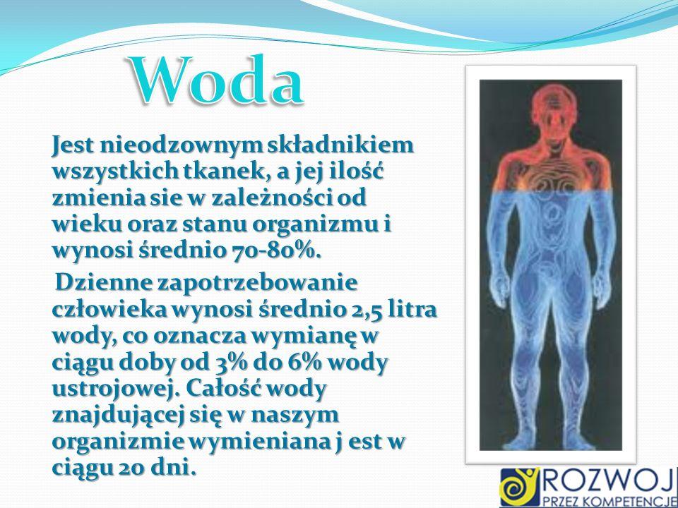 Jest nieodzownym składnikiem wszystkich tkanek, a jej ilość zmienia sie w zależności od wieku oraz stanu organizmu i wynosi średnio 70-80%. Dzienne za