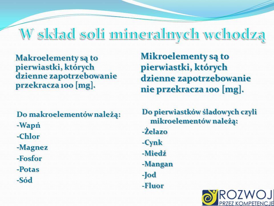 Makroelementy są to pierwiastki, których dzienne zapotrzebowanie przekracza 100 [mg]. Mikroelementy są to pierwiastki, których dzienne zapotrzebowanie