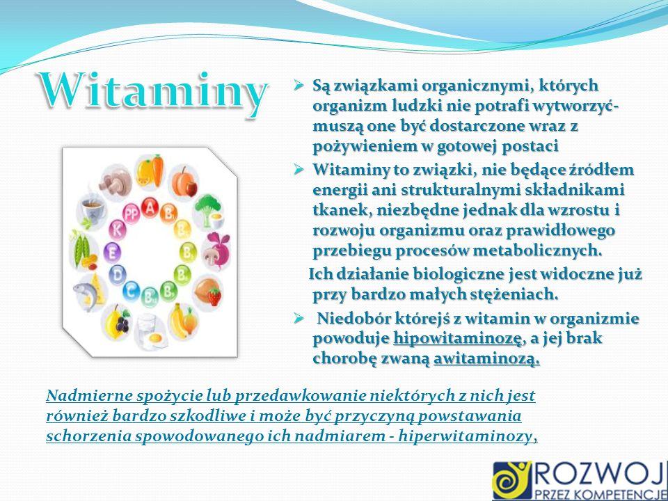 Są związkami organicznymi, których organizm ludzki nie potrafi wytworzyć- muszą one być dostarczone wraz z pożywieniem w gotowej postaci Są związkami