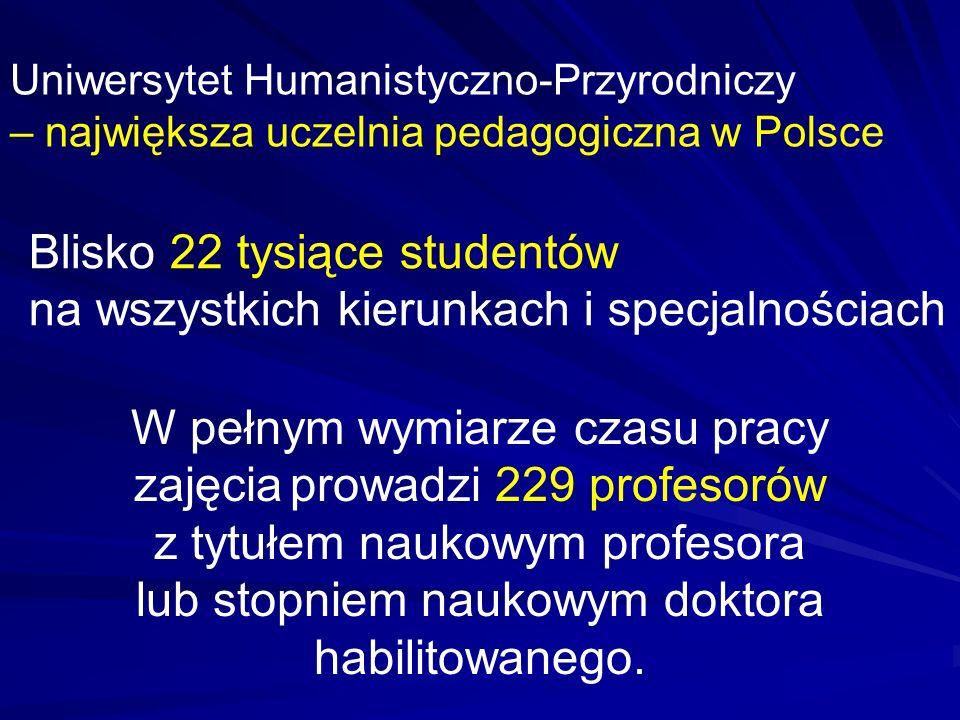 Uniwersytet Humanistyczno-Przyrodniczy – największa uczelnia pedagogiczna w Polsce Blisko 22 tysiące studentów na wszystkich kierunkach i specjalności