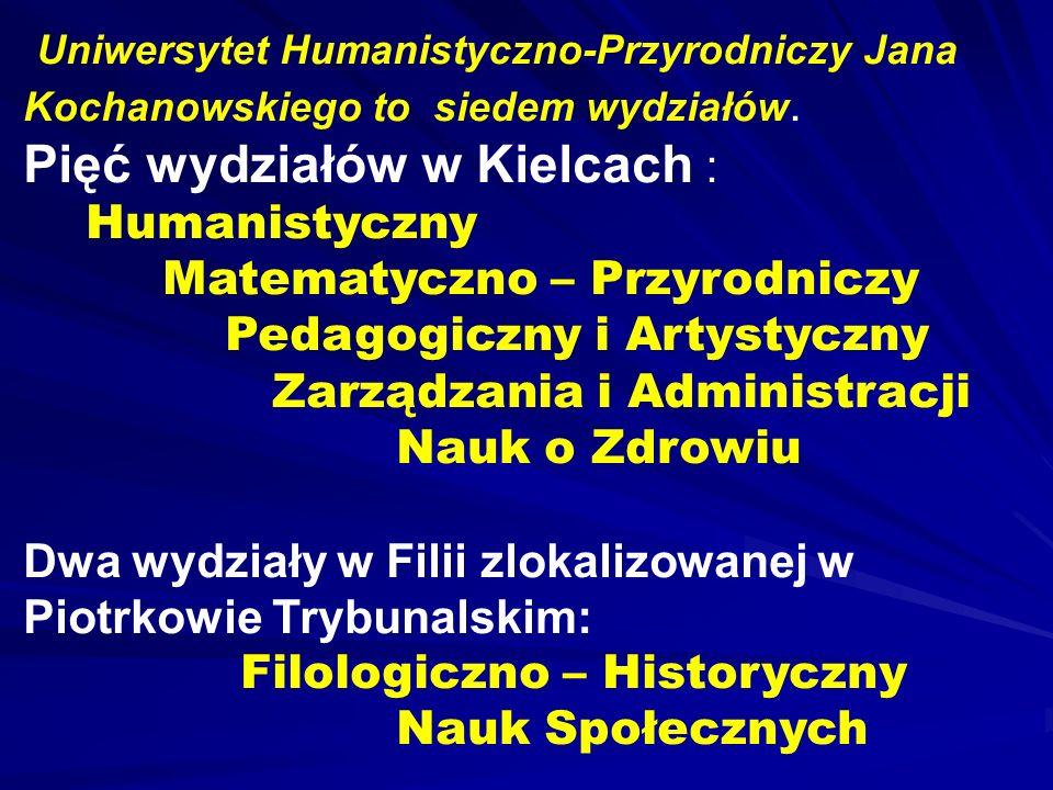 Uniwersytet Humanistyczno-Przyrodniczy Jana Kochanowskiego to siedem wydziałów. Pięć wydziałów w Kielcach : Humanistyczny Matematyczno – Przyrodniczy
