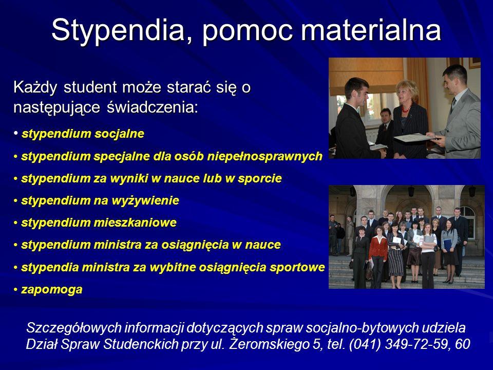 Stypendia, pomoc materialna Każdy student może starać się o następujące świadczenia: stypendium socjalne stypendium specjalne dla osób niepełnosprawny