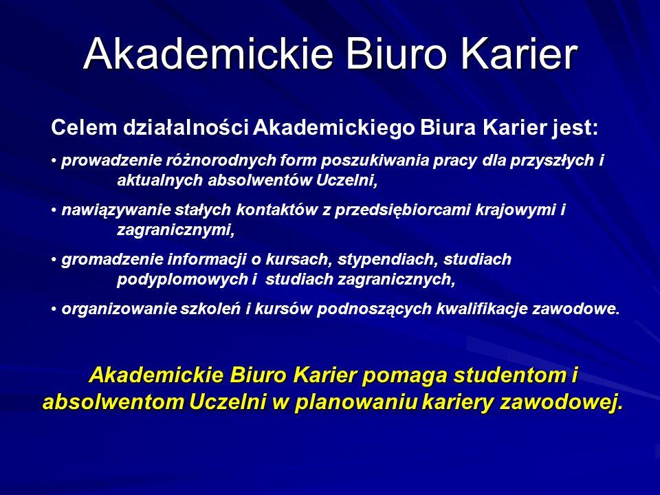 Akademickie Biuro Karier Celem działalności Akademickiego Biura Karier jest: prowadzenie różnorodnych form poszukiwania pracy dla przyszłych i aktualn