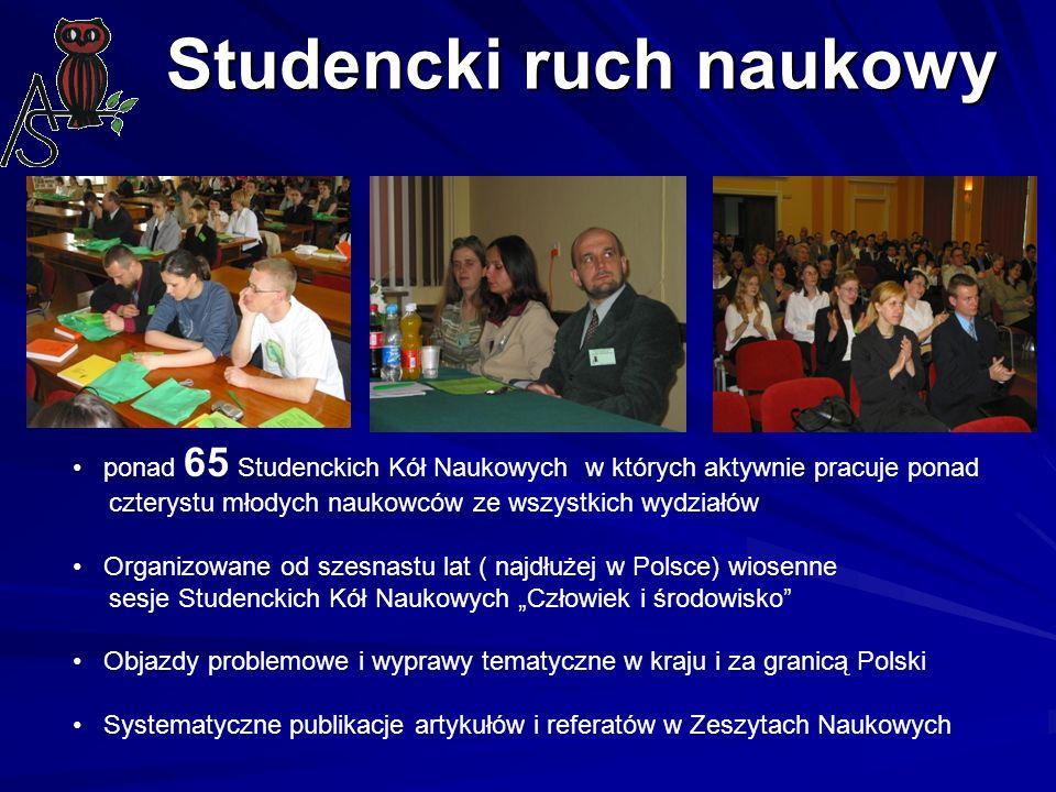 Studencki ruch naukowy ponad 65 Studenckich Kół Naukowych w których aktywnie pracuje ponad czterystu młodych naukowców ze wszystkich wydziałów Organiz