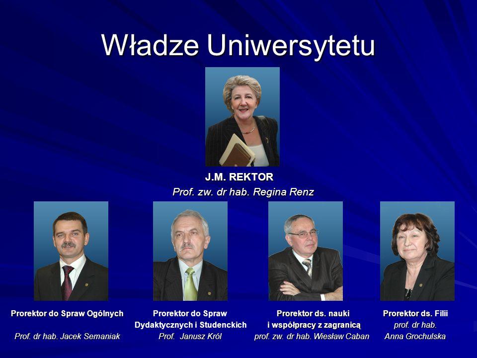 Władze Uniwersytetu J.M. REKTOR J.M. REKTOR Prof. zw. dr hab. Regina Renz Prorektor do Spraw Ogólnych Prof. dr hab. Jacek Semaniak Prorektor ds. nauki