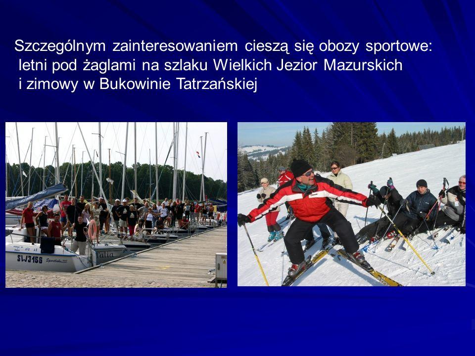 Szczególnym zainteresowaniem cieszą się obozy sportowe: letni pod żaglami na szlaku Wielkich Jezior Mazurskich i zimowy w Bukowinie Tatrzańskiej