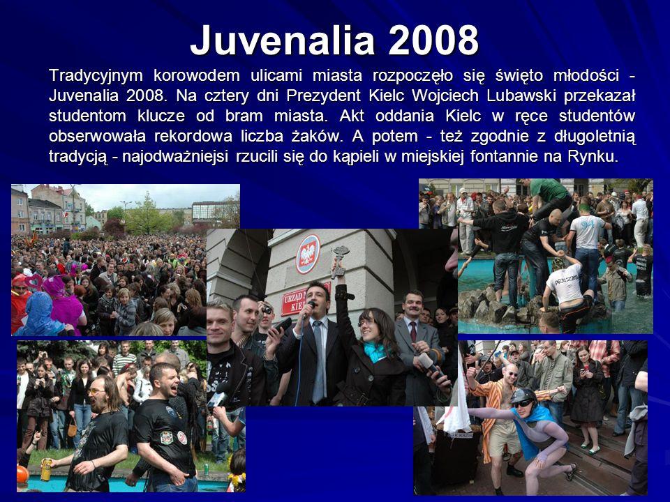Juvenalia 2008 Tradycyjnym korowodem ulicami miasta rozpoczęło się święto młodości - Juvenalia 2008. Na cztery dni Prezydent Kielc Wojciech Lubawski p