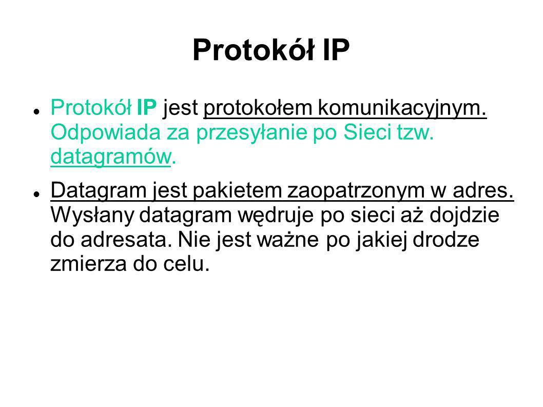 Protokół IP Protokół IP jest protokołem komunikacyjnym. Odpowiada za przesyłanie po Sieci tzw. datagramów. Datagram jest pakietem zaopatrzonym w adres
