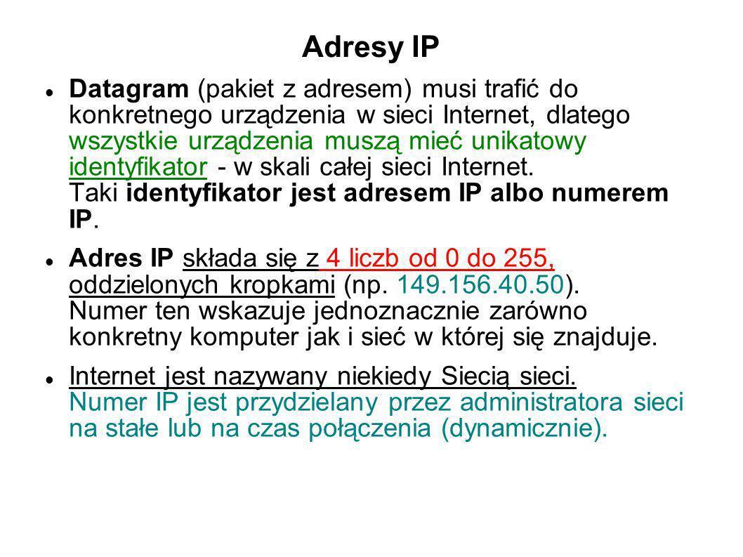 Adresy IP Datagram (pakiet z adresem) musi trafić do konkretnego urządzenia w sieci Internet, dlatego wszystkie urządzenia muszą mieć unikatowy identy