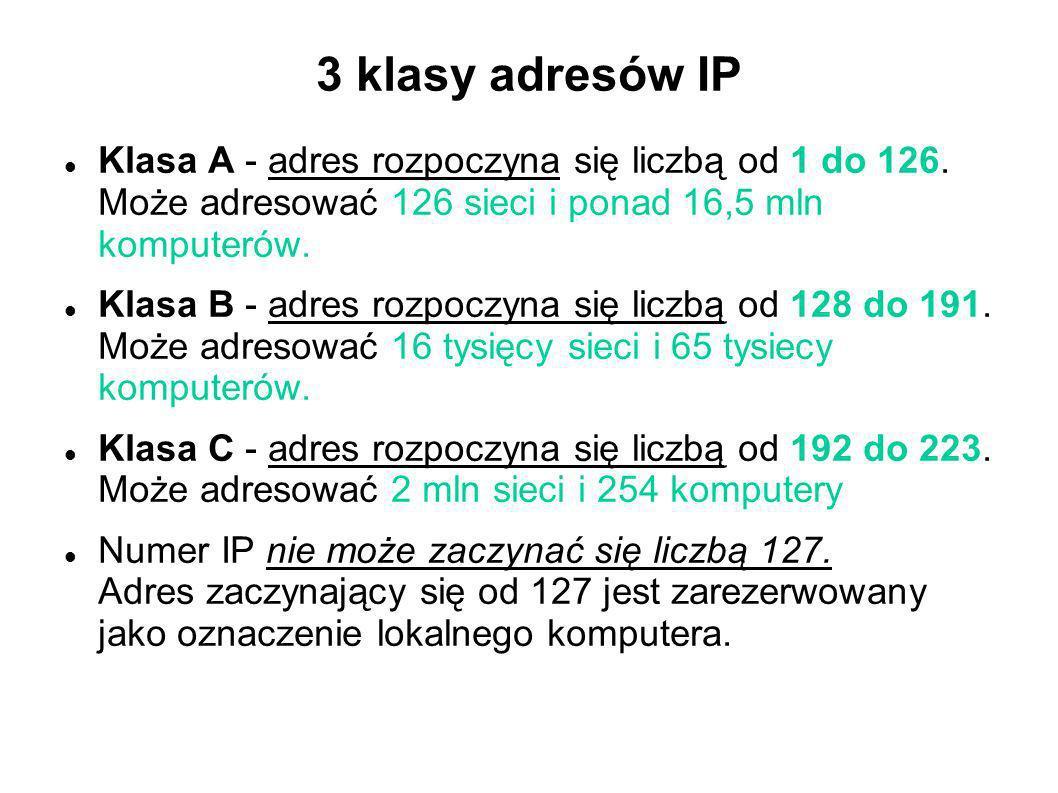 3 klasy adresów IP Klasa A - adres rozpoczyna się liczbą od 1 do 126. Może adresować 126 sieci i ponad 16,5 mln komputerów. Klasa B - adres rozpoczyna