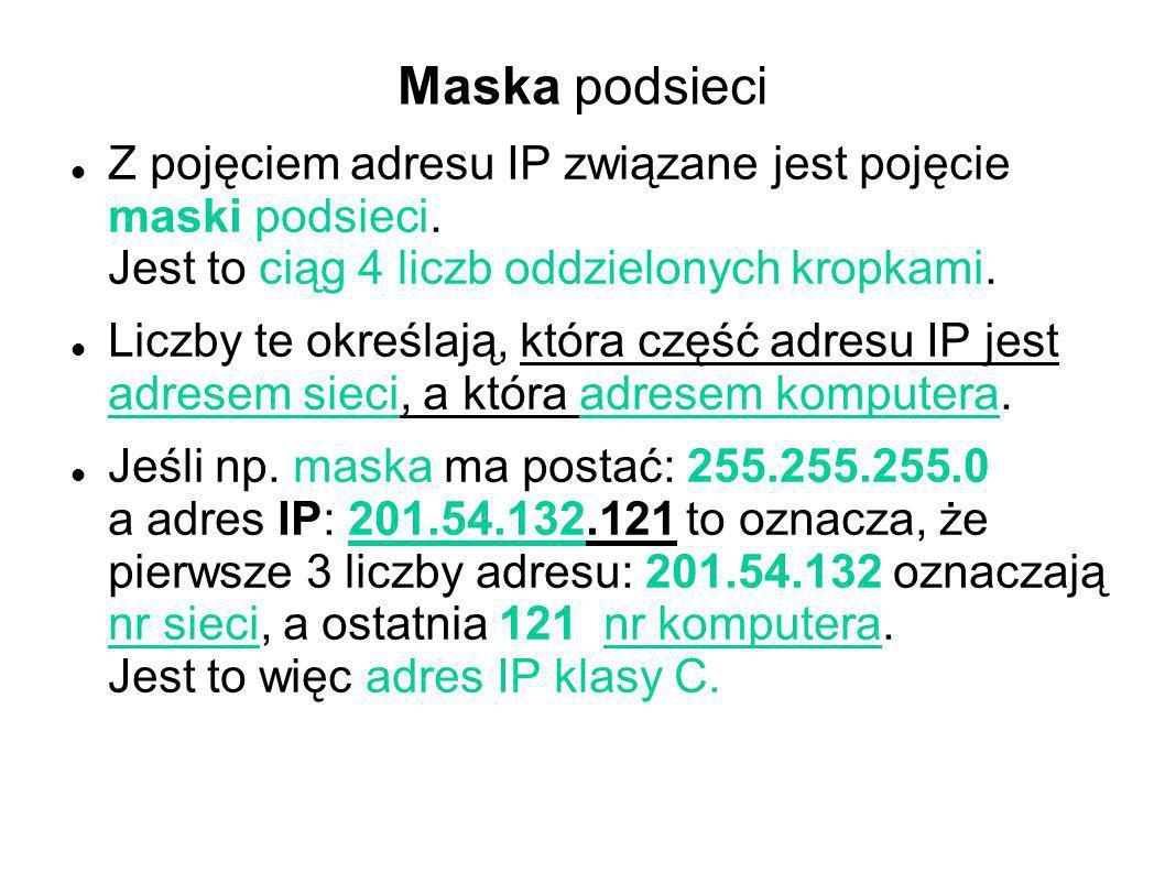 Maska podsieci Z pojęciem adresu IP związane jest pojęcie maski podsieci. Jest to ciąg 4 liczb oddzielonych kropkami. Liczby te określają, która część