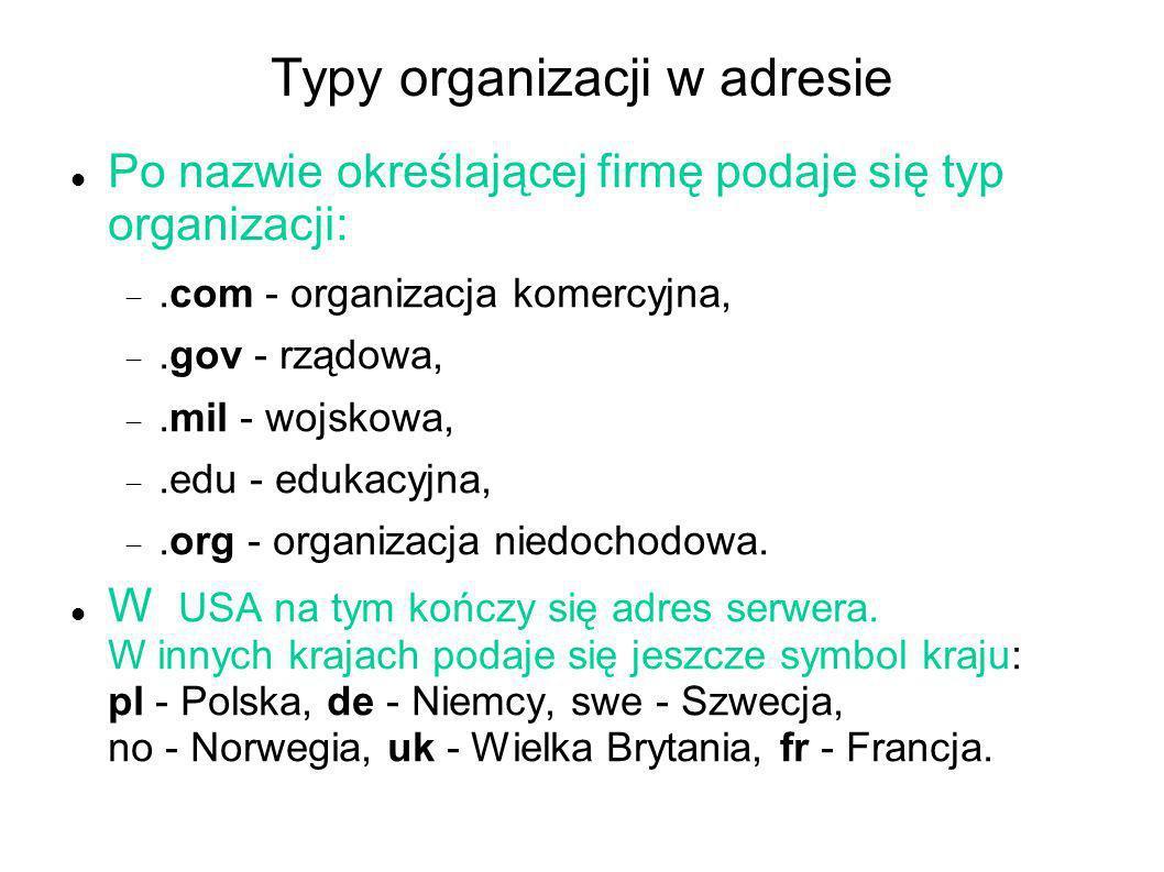 Typy organizacji w adresie Po nazwie określającej firmę podaje się typ organizacji:.com - organizacja komercyjna,.gov - rządowa,.mil - wojskowa,.edu -
