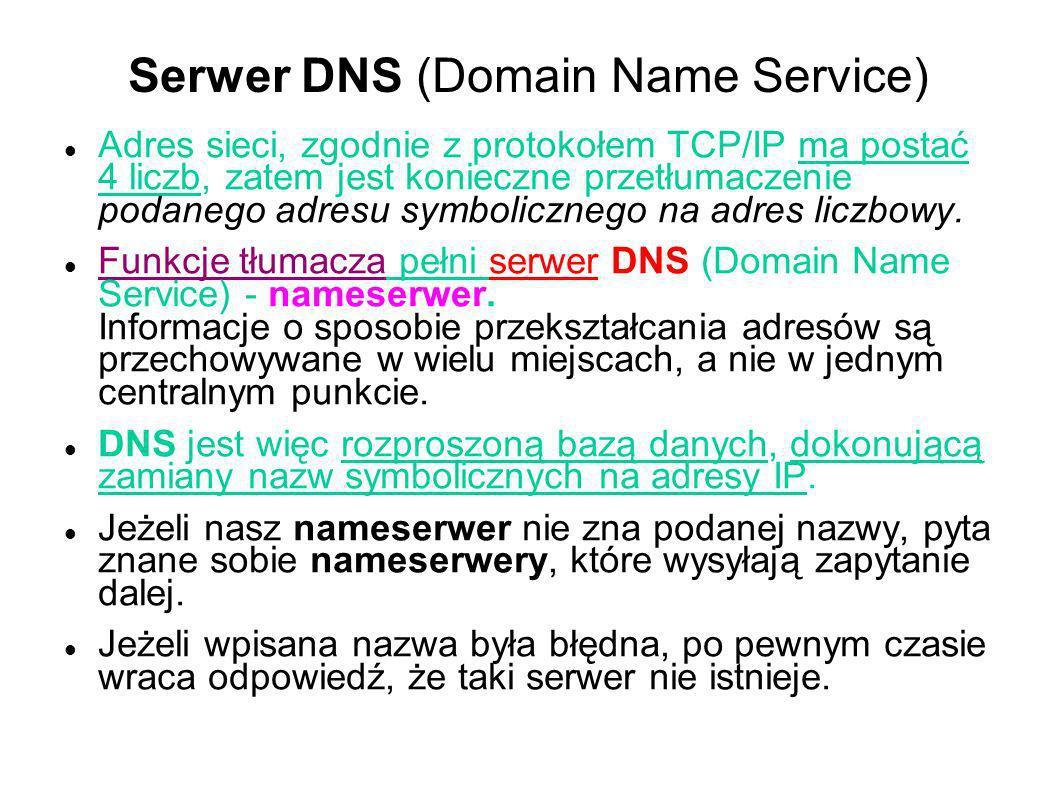 Serwer DNS (Domain Name Service) Adres sieci, zgodnie z protokołem TCP/IP ma postać 4 liczb, zatem jest konieczne przetłumaczenie podanego adresu symb