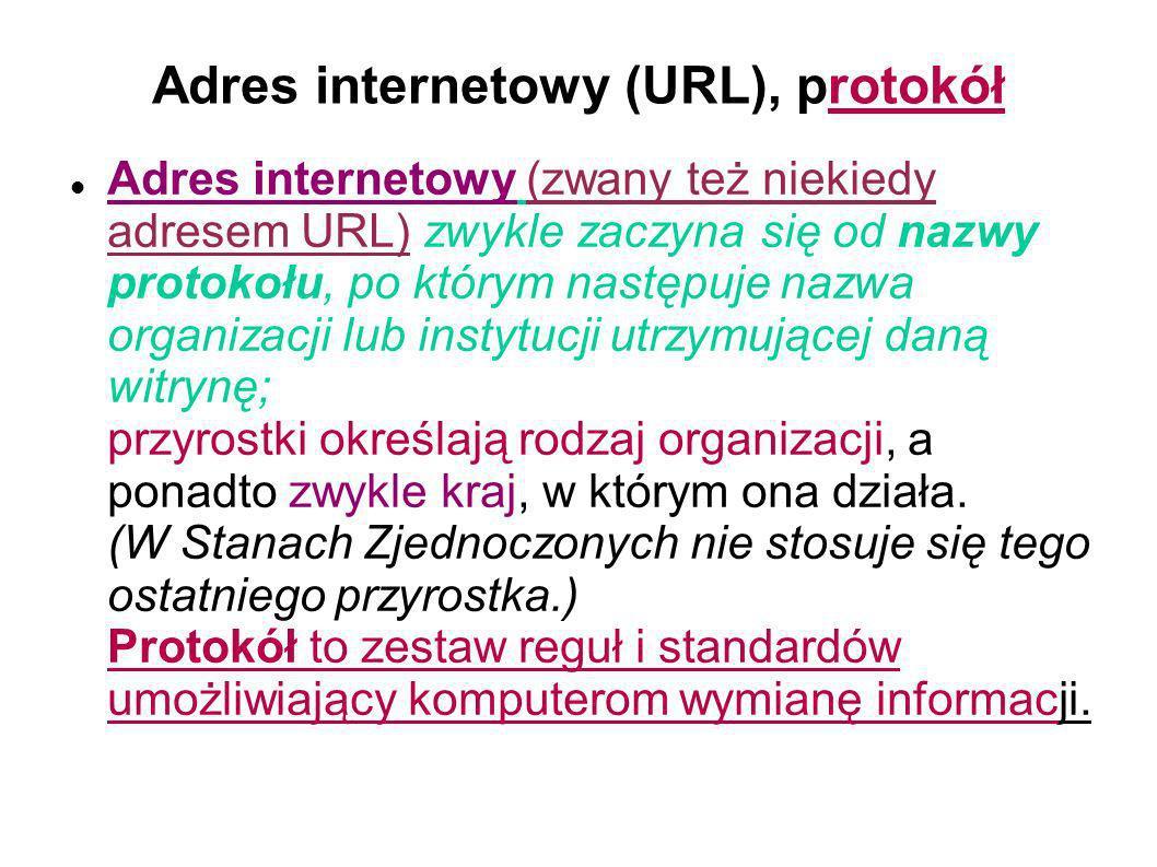 Adres internetowy (URL), protokół Adres internetowy (zwany też niekiedy adresem URL) zwykle zaczyna się od nazwy protokołu, po którym następuje nazwa