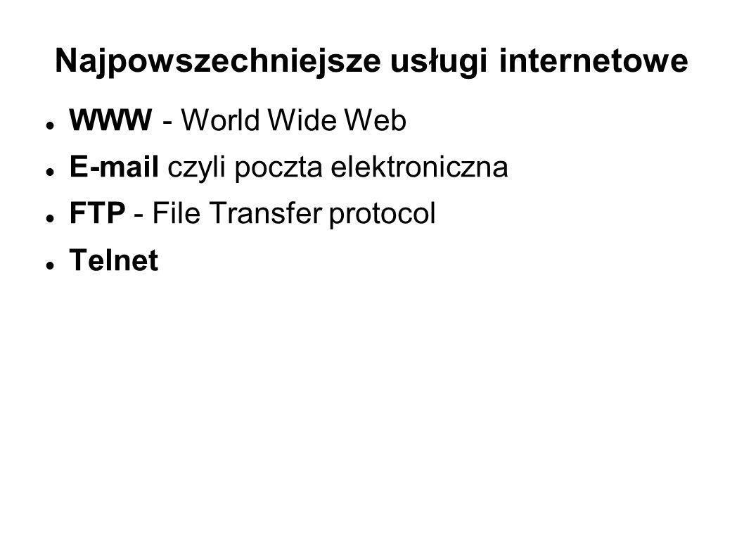 Najpowszechniejsze usługi internetowe WWW - World Wide Web E-mail czyli poczta elektroniczna FTP - File Transfer protocol Telnet