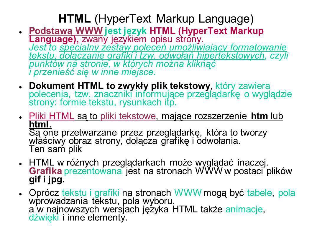 HTML (HyperText Markup Language) Podstawą WWW jest język HTML (HyperText Markup Language), zwany językiem opisu strony. Jest to specjalny zestaw polec