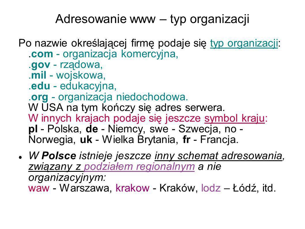 Adresowanie www – typ organizacji Po nazwie określającej firmę podaje się typ organizacji:.com - organizacja komercyjna,.gov - rządowa,.mil - wojskowa