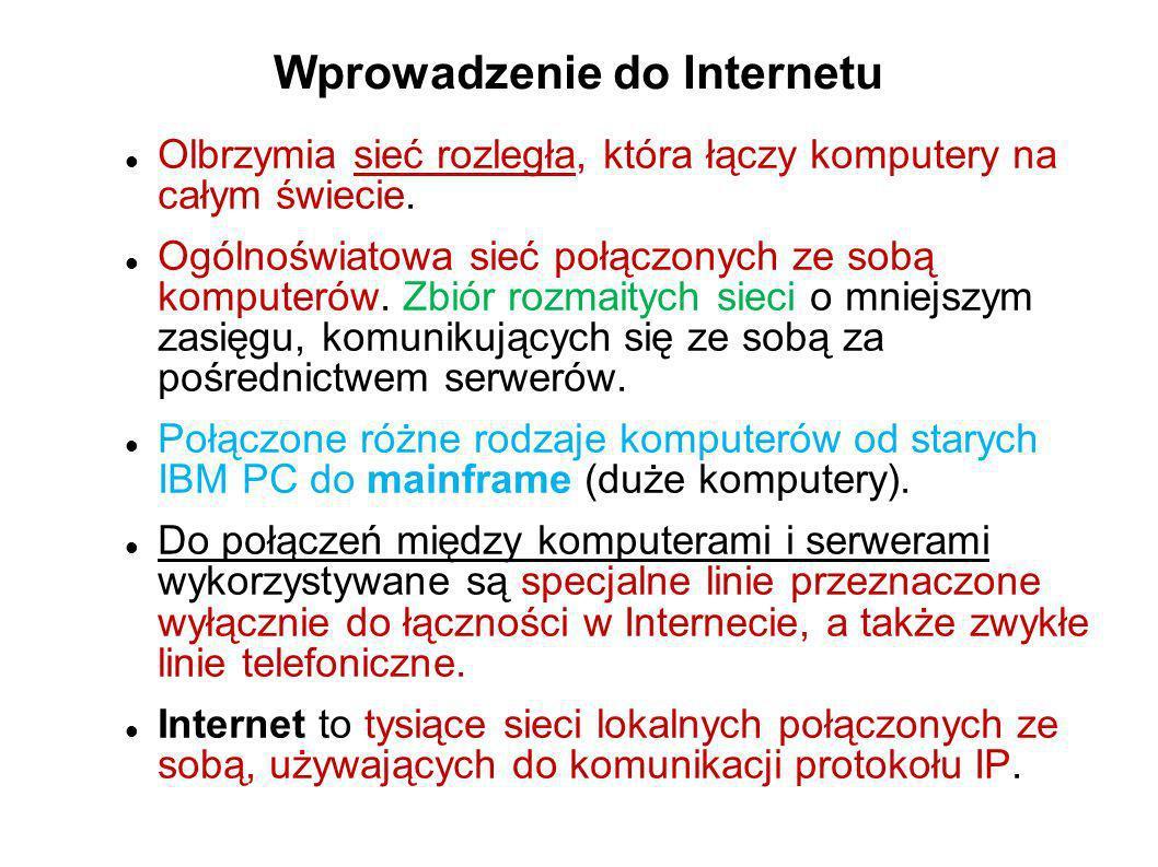 Reguły Internetu Aby komunikacja miedzy różnymi komputerami była możliwa, ustalony został zbiór reguł, który musi być spełniony.
