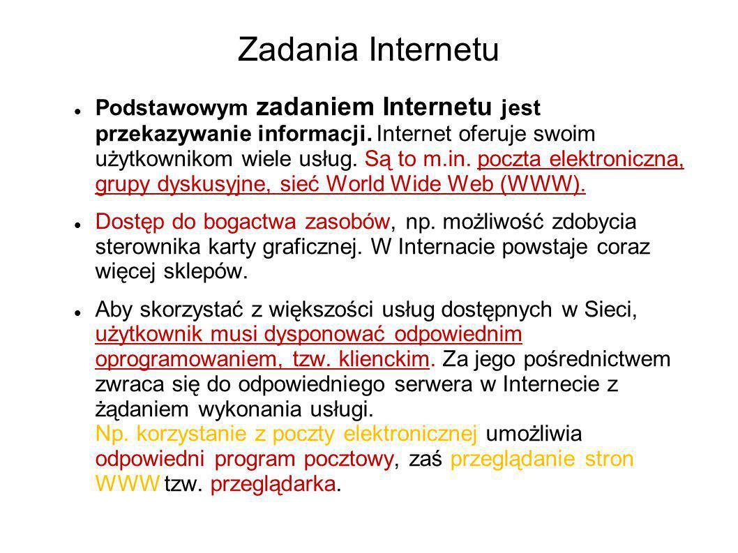 Zadania Internetu Podstawowym zadaniem Internetu jest przekazywanie informacji. Internet oferuje swoim użytkownikom wiele usług. Są to m.in. poczta el