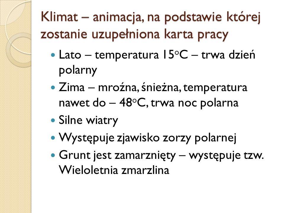 Klimat – animacja, na podstawie której zostanie uzupełniona karta pracy Lato – temperatura 15 o C – trwa dzień polarny Zima – mroźna, śnieżna, tempera