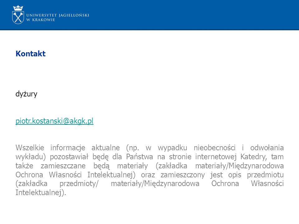 Kontakt dyżury piotr.kostanski@akgk.pl Wszelkie informacje aktualne (np. w wypadku nieobecności i odwołania wykładu) pozostawiał będę dla Państwa na s