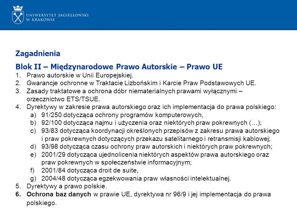 Zagadnienia Blok II – Międzynarodowe Prawo Autorskie – Prawo UE 1.Prawo autorskie w Unii Europejskiej. 2.Gwarancje ochronne w Traktacie Lizbońskim i K