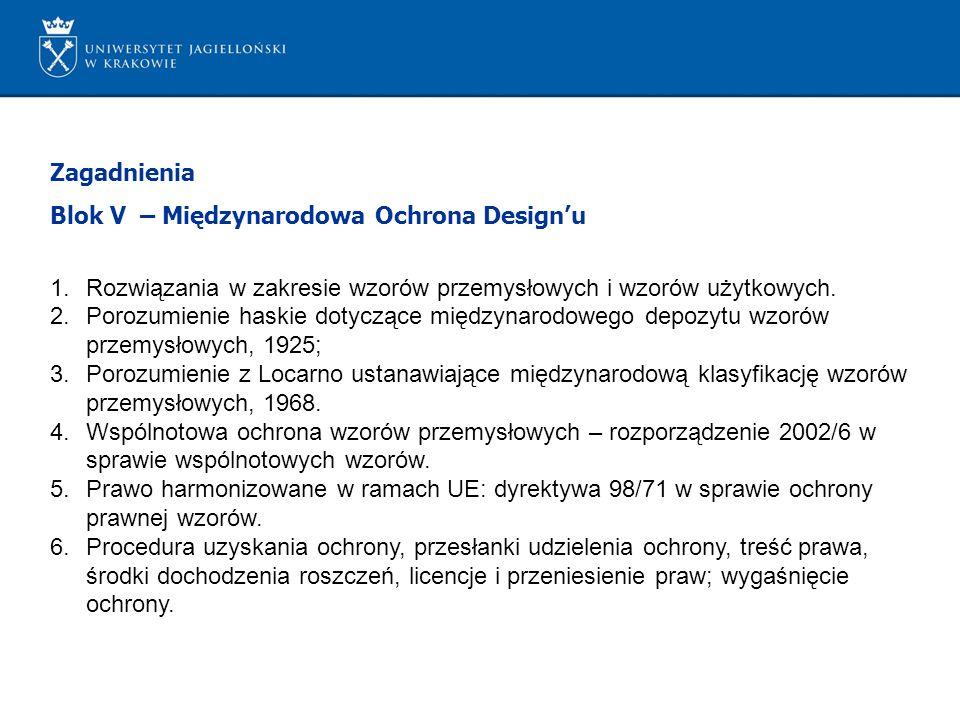 Zagadnienia Blok V – Międzynarodowa Ochrona Designu 1.Rozwiązania w zakresie wzorów przemysłowych i wzorów użytkowych. 2.Porozumienie haskie dotyczące