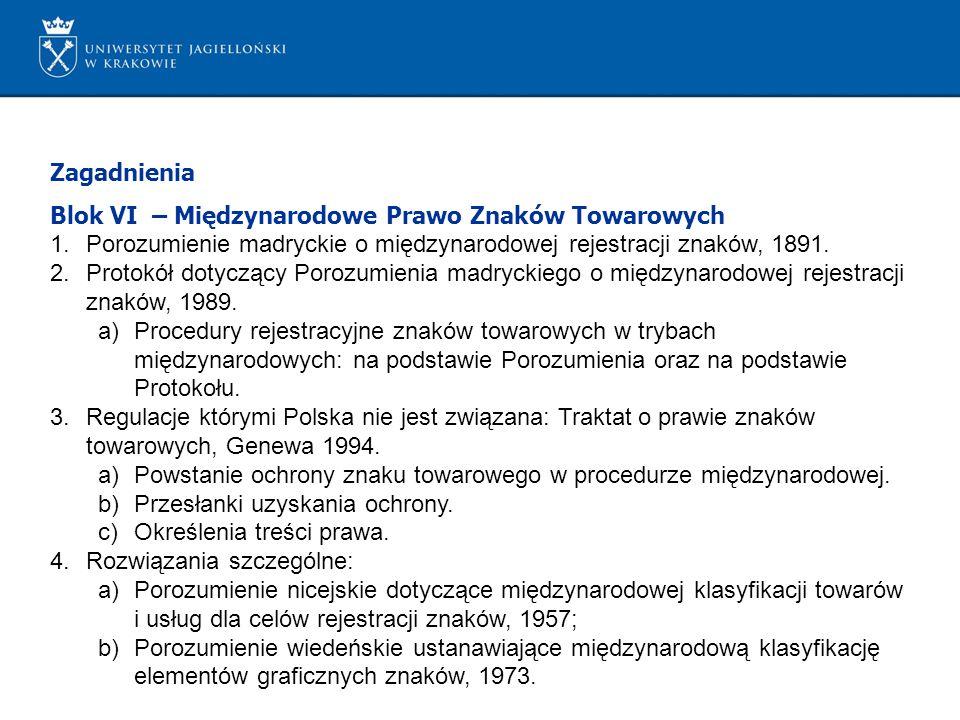 Zagadnienia Blok VI – Międzynarodowe Prawo Znaków Towarowych 1.Porozumienie madryckie o międzynarodowej rejestracji znaków, 1891. 2.Protokół dotyczący
