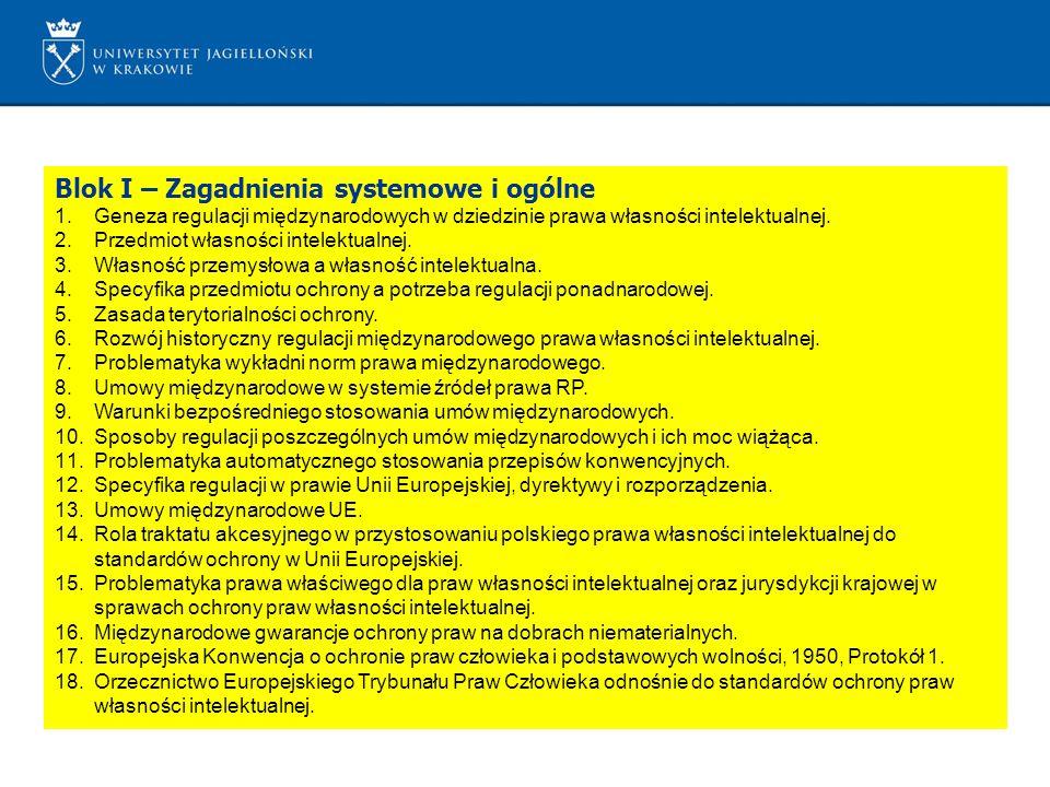 Blok I – Zagadnienia systemowe i ogólne 1.Geneza regulacji międzynarodowych w dziedzinie prawa własności intelektualnej. 2.Przedmiot własności intelek