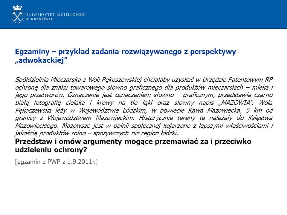 Egzaminy – przykład zadania rozwiązywanego z perspektywy adwokackiej Spółdzielnia Mleczarska z Woli Pękoszewskiej chciałaby uzyskać w Urzędzie Patento