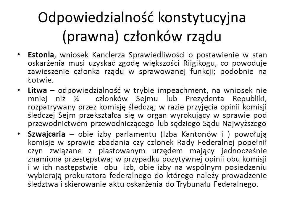 Odpowiedzialność konstytucyjna (prawna) członków rządu Estonia, wniosek Kanclerza Sprawiedliwości o postawienie w stan oskarżenia musi uzyskać zgodę w