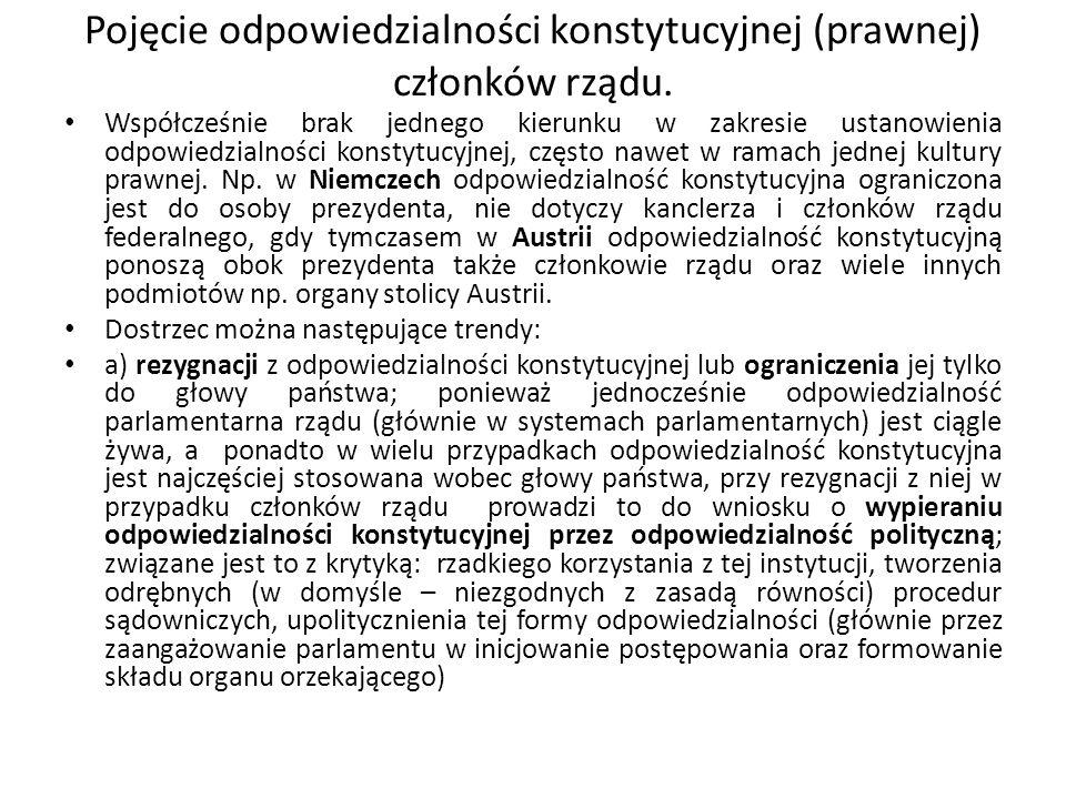 Odpowiedzialność konstytucyjna (prawna) członków rządu.