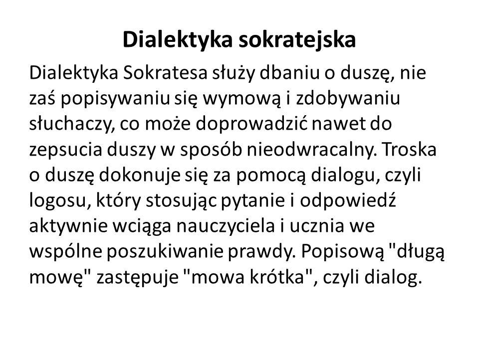 Dialektyka sokratejska Dialektyka Sokratesa służy dbaniu o duszę, nie zaś popisywaniu się wymową i zdobywaniu słuchaczy, co może doprowadzić nawet do