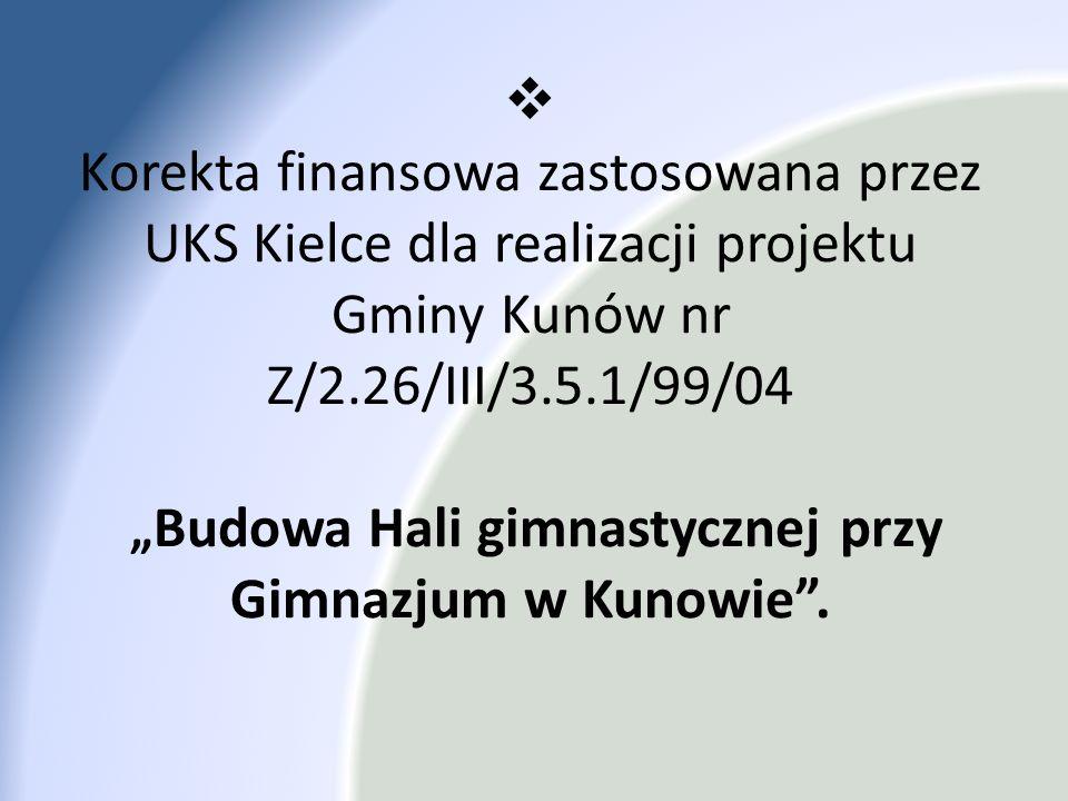 Korekta finansowa zastosowana przez UKS Kielce dla realizacji projektu Gminy Kunów nr Z/2.26/III/3.5.1/99/04 Budowa Hali gimnastycznej przy Gimnazjum