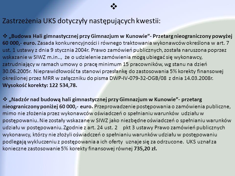 Zastrzeżenia UKS dotyczyły następujących kwestii: Budowa Hali gimnastycznej przy Gimnazjum w Kunowie- Przetarg nieograniczony powyżej 60 000,- euro. Z