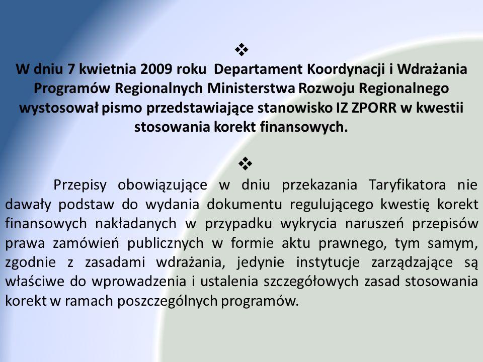 W dniu 7 kwietnia 2009 roku Departament Koordynacji i Wdrażania Programów Regionalnych Ministerstwa Rozwoju Regionalnego wystosował pismo przedstawiaj