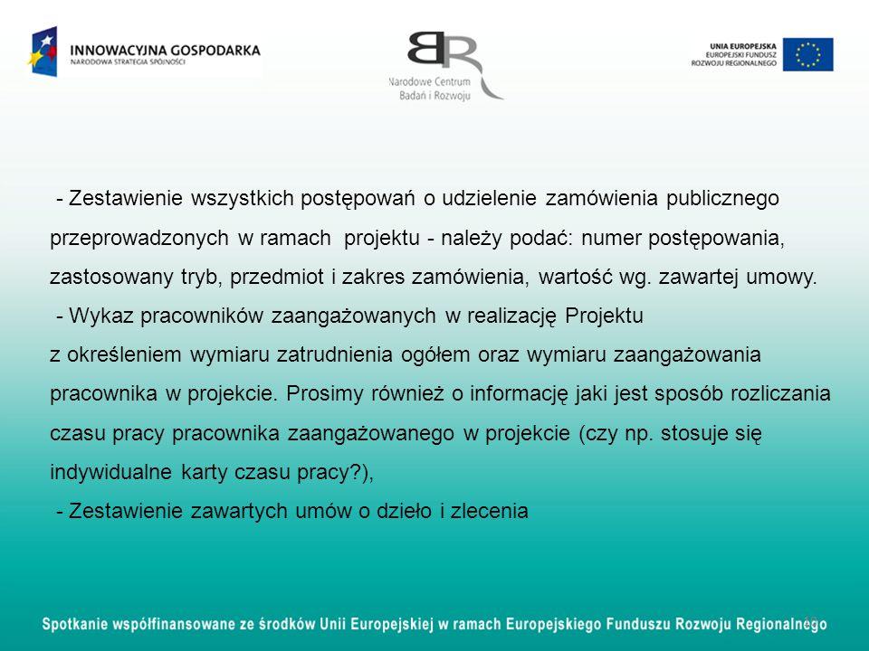 - Zestawienie wszystkich postępowań o udzielenie zamówienia publicznego przeprowadzonych w ramach projektu - należy podać: numer postępowania, zastoso