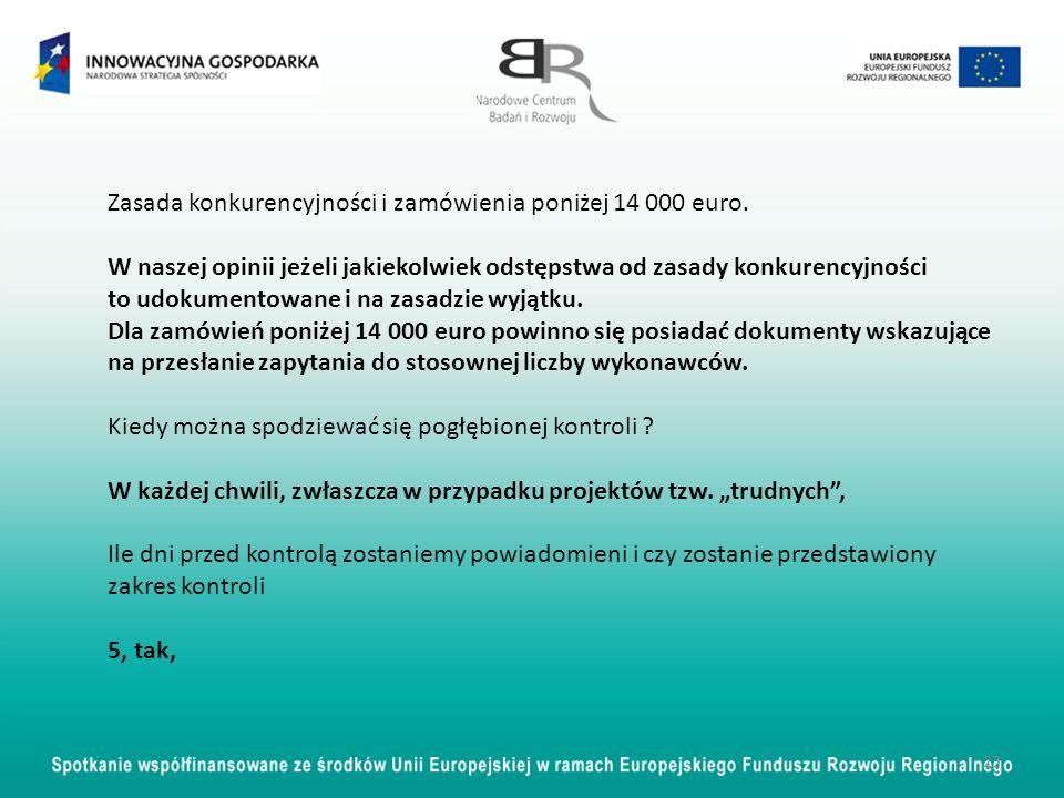 23 Zasada konkurencyjności i zamówienia poniżej 14 000 euro. W naszej opinii jeżeli jakiekolwiek odstępstwa od zasady konkurencyjności to udokumentowa