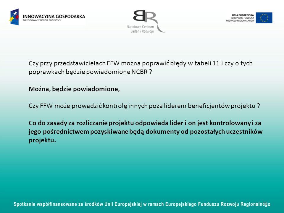 29 Czy przy przedstawicielach FFW można poprawić błędy w tabeli 11 i czy o tych poprawkach będzie powiadomione NCBR ? Można, będzie powiadomione, Czy