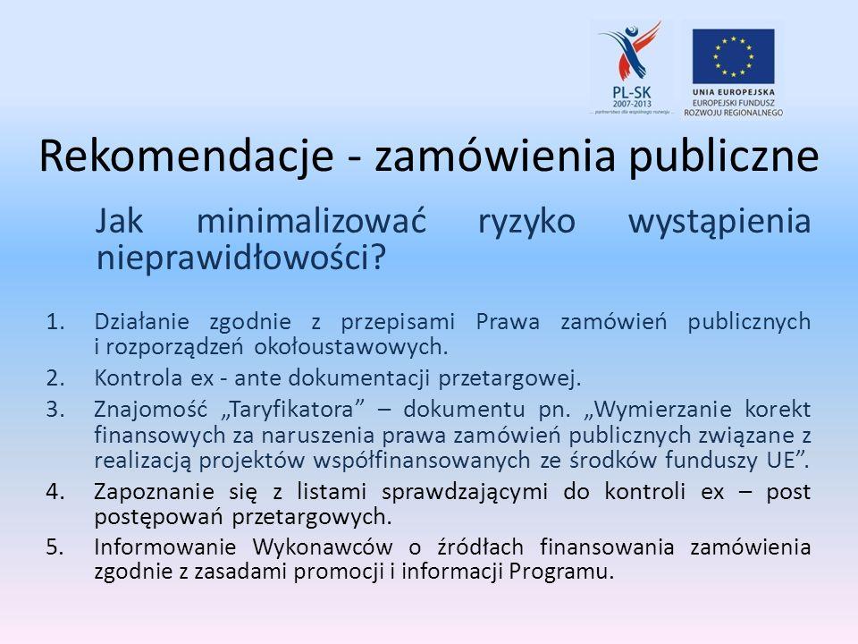 Rekomendacje - zamówienia publiczne Jak minimalizować ryzyko wystąpienia nieprawidłowości? 1.Działanie zgodnie z przepisami Prawa zamówień publicznych